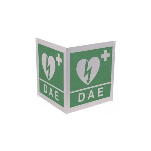 Cartello da colonna DAE, Bifacciale 34x36cm 90°