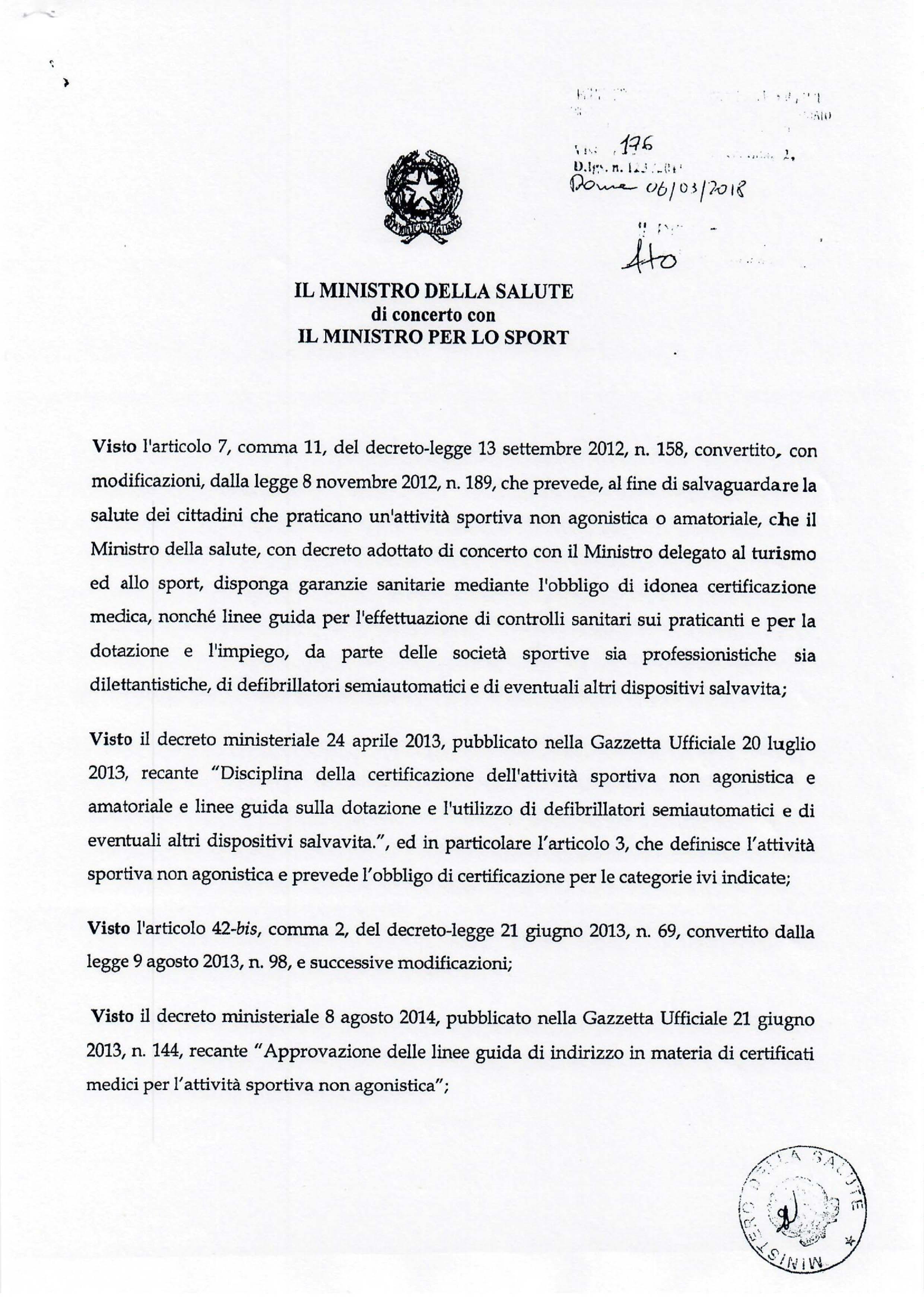 Decreto Ministero della Salute e dello Sport Pag.1/2