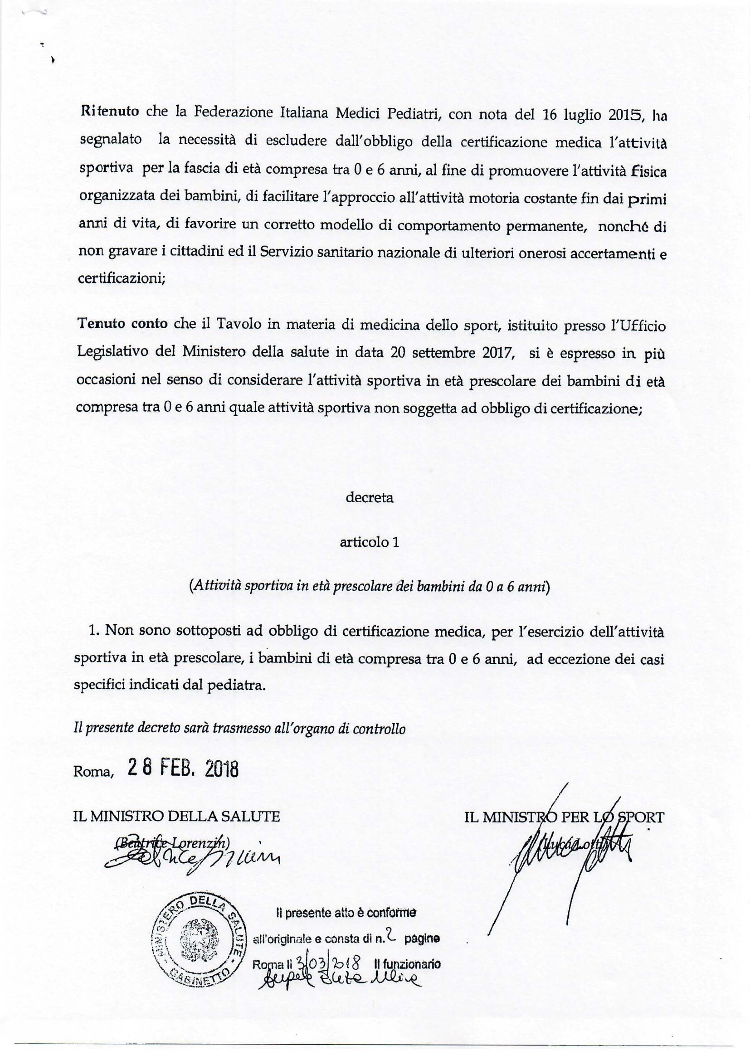 Decreto Ministero della Salute e dello Sport Pag.2/2